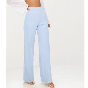 High waisted baby blue trousers!